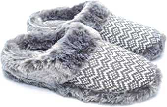 ofoot Women's Cashmere Knit Slippers,Faux Fur Memory Foam Indoor Outdoor Shoes