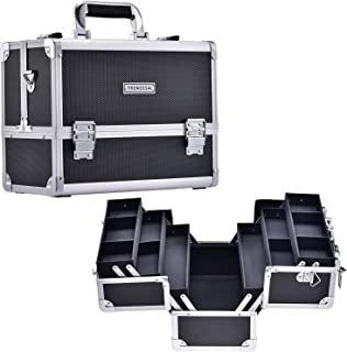 Frenessa Makeup Train Case Large Cosmetic Box 6 Tier Trays with Compartments Professional Makeup Box Jewelry Storage Organizer Case Adjustable Bottom with Shoulder Strap - Black