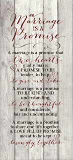 Marriage Promise Wood Plaque Inspiring Quote - Classy Vertical Frame Wall Hanging Decoration | A Promise That Two Hearts Gladly Make | Christian Family Religious Home Decor Saying (5.5