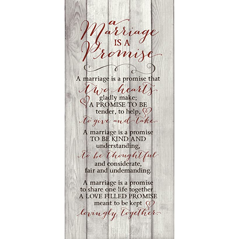 Marriage Promise Wood Plaque Inspiring Quote 5.5x12 - Classy Vertical Frame Wall Hanging Decoration   A marriage is a promise that two hearts gladly make   Christian Family Religious Home Decor Saying