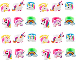 Rainbow Unicorn Toy Rings - 24-Pack Silicone Rubber Play Rings for Girls, Assorted Unicorn Themed Party Supplies Favors Accessories, Ideal for Fantasy Parties, Magical Birthdays, Game Prizes