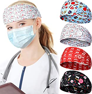 4 Pieces Face Covering Headbands for Women, Headbands with Buttons Nurses Bandanas for Ear Protector Head Wraps Elastic Ha...