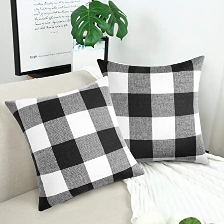 Volcanics Buffalo Check Plaid Throw Pillow Covers Set of 2 Farmhouse Decorative Square Case Cushion Pillowcase 18x18 Inches for Home Decor Sofa Bedroom Car