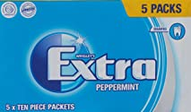 Wrigley's Extra Sugar Free Peppermint Gum 5*10 piece packets