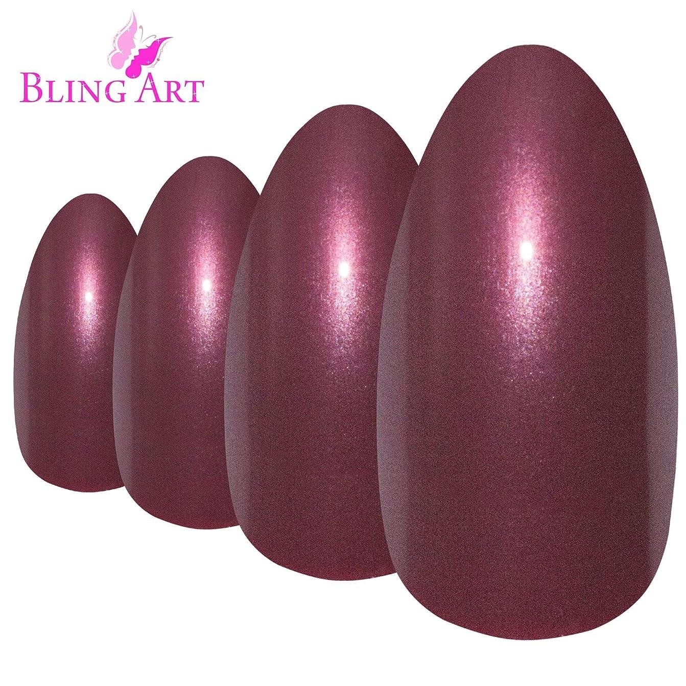振り向くセラーバランスのとれたBling Art Almond False Nails Fake Stiletto Glitter Red Brown Acrylic Long Tips