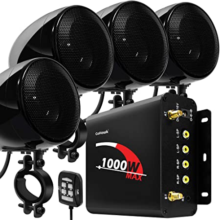 "GoHawk TN4-Q 1000W 4 Channel Amplifier 4"" Full Range Waterproof Bluetooth Motorcycle Stereo Speakers Audio System AUX USB SD Radio for 1-1.5"" Handlebar Harley Touring Cruiser ATV"