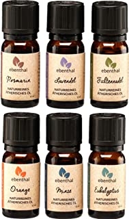 Ätherische Öle Premium EBENTHAL VITAL • GARANTIERT 100% PUR & NATURREIN • IN DEUTSCHLAND ABGEFÜLLT & GEPRÜFT • Duft-Öl-Set zur Aromatherapie oder im Diffuser • 6 x 10ml • NEU VERBESSERTE VERPACKUNG
