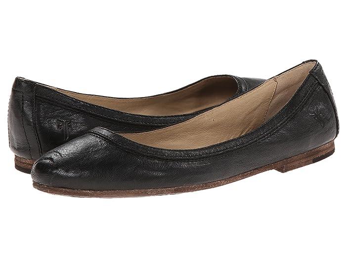Frye  Carson Ballet (Black Antique Soft Vintage) Womens Flat Shoes