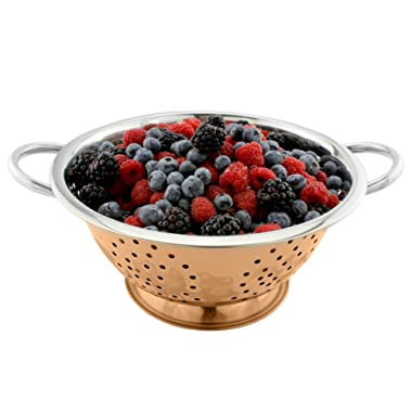Copper & Stainless Steel Colander (2.5 Quart Capacity); Decorative Strainer / Fruit Bowl / Pedestal-Style Colander