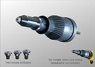 remachadora para taladro RiveDrill E95H.20 , adaptador para taladro para remachar sin esfuerzo. Remaches de 3,2 a 4,8 mm de diámetro. A derechas remacha y a izquierdas expulsa el vástago. Taladro no incluido. Sus 20 mm de carrera la hacen un buen complemento para remachar de forma profesional.