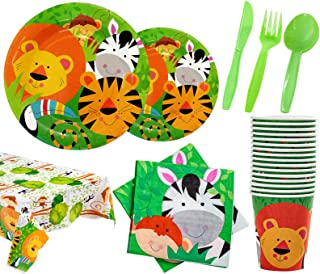Jungle Safari Birthday Party Supplies - Serves 16, Includes Plates, Cups, Napkins, Spoons, Forks, Knives, Happy Birthday B...