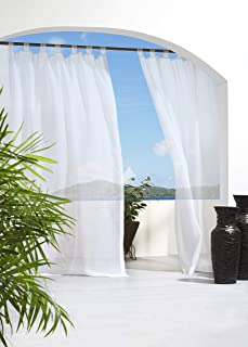 """Outdoor décor Escape Water Repellent Sheer Outdoor Curtain 54"""" X 84"""" White 70427130-54084001"""
