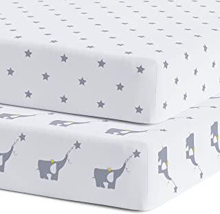 Crib Sheets - Super Soft Organic Jersey Cotton - 2 Pack Fitted Bed Sheets - Unisex Gray Nursery Bedding for Baby Boy or Girl