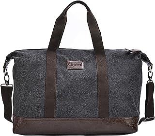 Sel Natural Reisetasche Canvas Weekender Tasche Handgepäck Sporttasche für Reise am Wochenend Urlaub