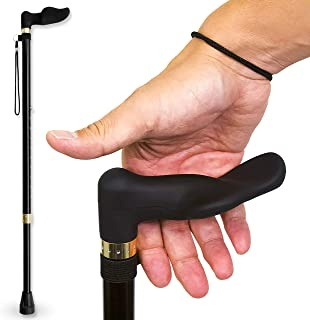 RMS Walking Cane with Palm Grip Orthopedic Handle for Right Hand - Adjustable Offset Cane to Fit Individual's Palm Naturally - Ideal for Anyone with Arthritis or Carpal Tunnel Syndrome - Black