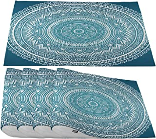 Moslion White Blue Mandala Placemats,Round Doodle Indian Pattern Teal Place Mats for Dining Table/Kitchen Table,Waterproof Non-Slip Heat-Resistant Washable Indoor Outdoor Dinner Table Mats,Set of 4