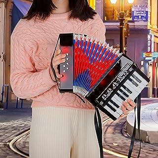 Gidenfly Profesjonalny akordeon, 17 klawiszy 8 basów akordeon 104 celuloidowy akordeon z paskiem instrumentem muzycznym dl...
