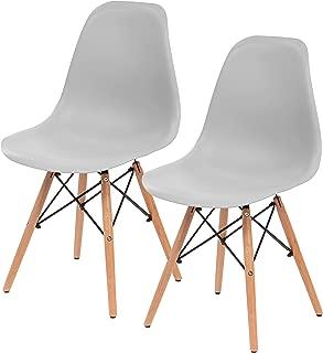 IRIS Mid-Century Modern Shell Chair with Wood Eiffel Legs, 2 Pack, Cloud Gray
