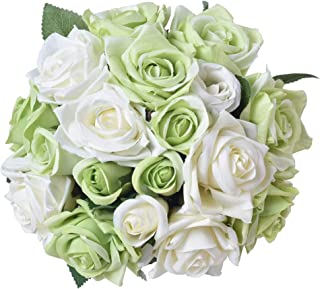 Aonewoe Artificial Flowers 2 Bouquets 18 Heads Silk Fake Rose Flowers Bridal Bouquets for Wedding Party Home Decoration(White with Green)