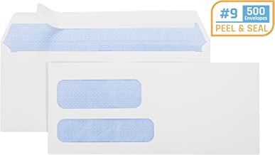 Office Deed 500#9 Double Window SELF SEAL Security Envelopes-Designed for Quickbooks Invoices and Business Statements with peel and seal flap -3 7/8'' X 8 7/8''