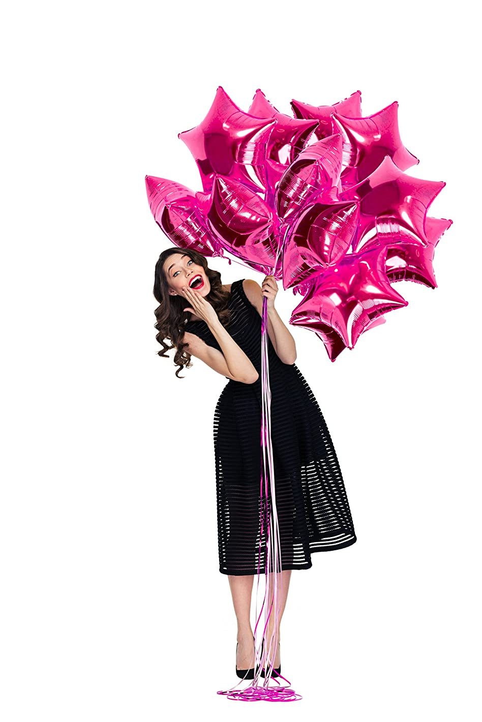 Treasures Gifted Valentines Magenta Pink Star Foil Balloons Kit for Girl Baby Shower Sweet 16 Birthday Bachelorette Wedding Anniversary Party Decorations (12 Pack)