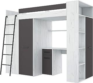 Lit Mezzanine avec Bureau, Armoire et bibliothèque - VERANA Gauche -