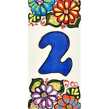 Handgemalte Kordeltechnik fuer Schilder mit Namen Adressen und Wegweisern . Design FLORES MINI 7,3 cm x 3,5 cm BUCHSTABENZ Schilder mit Zahlen und Nummern auf Keramikkachel