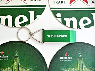 Heinken Bottle Opener/Key Chain and Coaster Set
