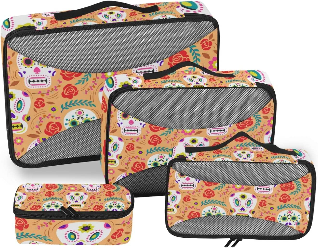 Day Of Dead Popular products Skulls Packing Travel Organizer Accessor 4-Pcs Max 53% OFF Cubes