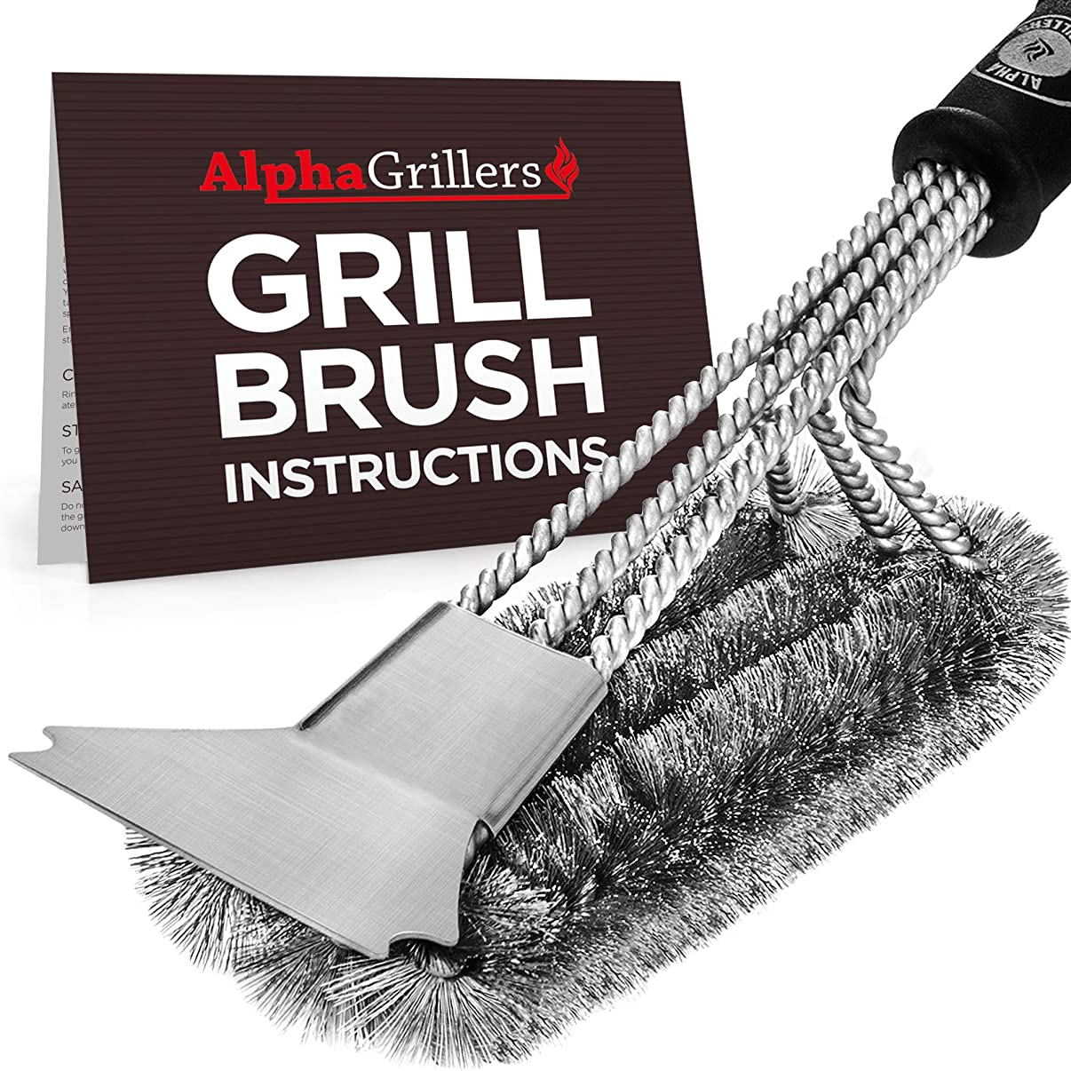 Alpha Grillers Grill Brush and Scraper. Best BBQ Cleaner. Perfect Tools for All Grill Types, Including Weber. Stainless Steel Wire Bristles and Stiff 18 Inch Handle. Ideal Barbecue Accessories