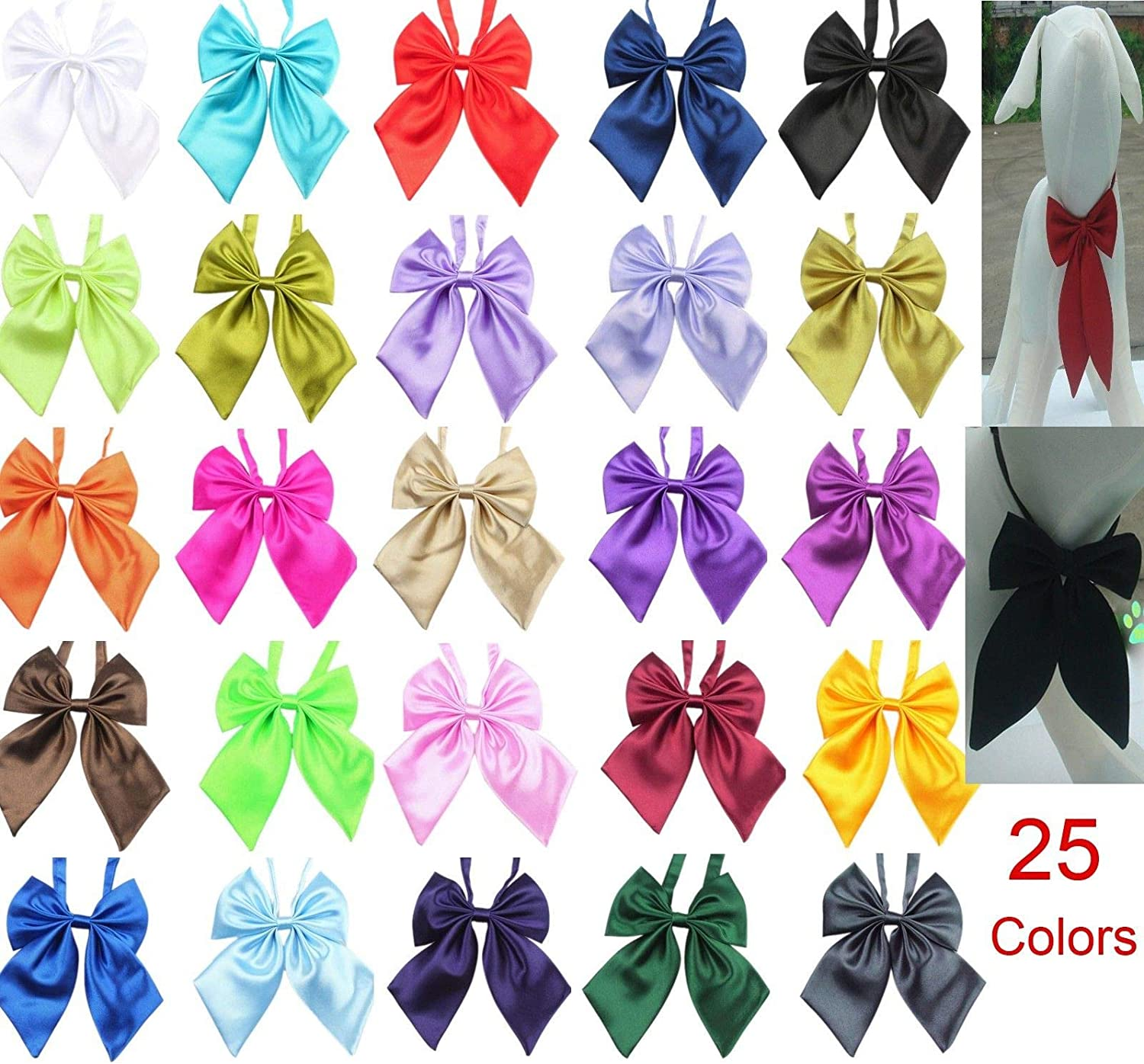FidgetKute Wholesale 25 colors Polyester Silk Pet Dog Bow Ties Adjustable Pet Dog Neckties Mix color 20pcs