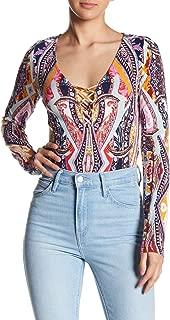 Womens Lace-Up Scoop Neck Bodysuit