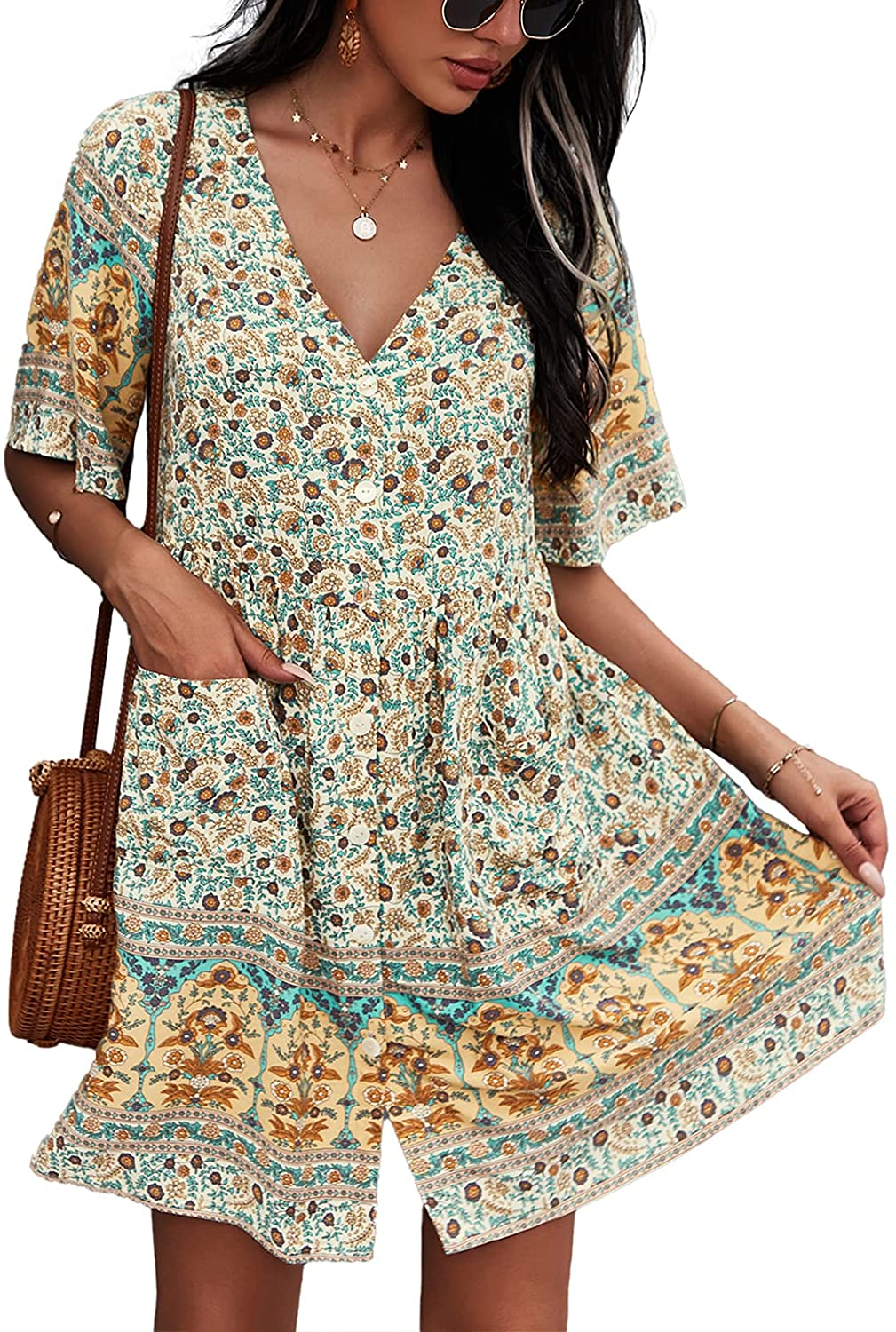 TEMOFON Women's Dress Bohemian Summer V Neck Short Sleeve Floral Printed Button Down Casual Mini Dresses with Pockets