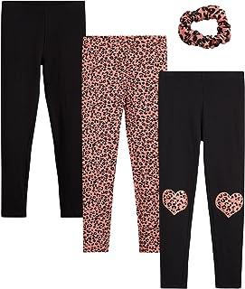 Limited Too Girls' Leggings - 3 Pack Prints & Solids Leggings with Scrunchie/Headband (Big Girl)