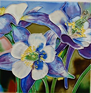 Tile Craft 6 X 6 INCH COLUMBINE FLOWER ART TILE BY