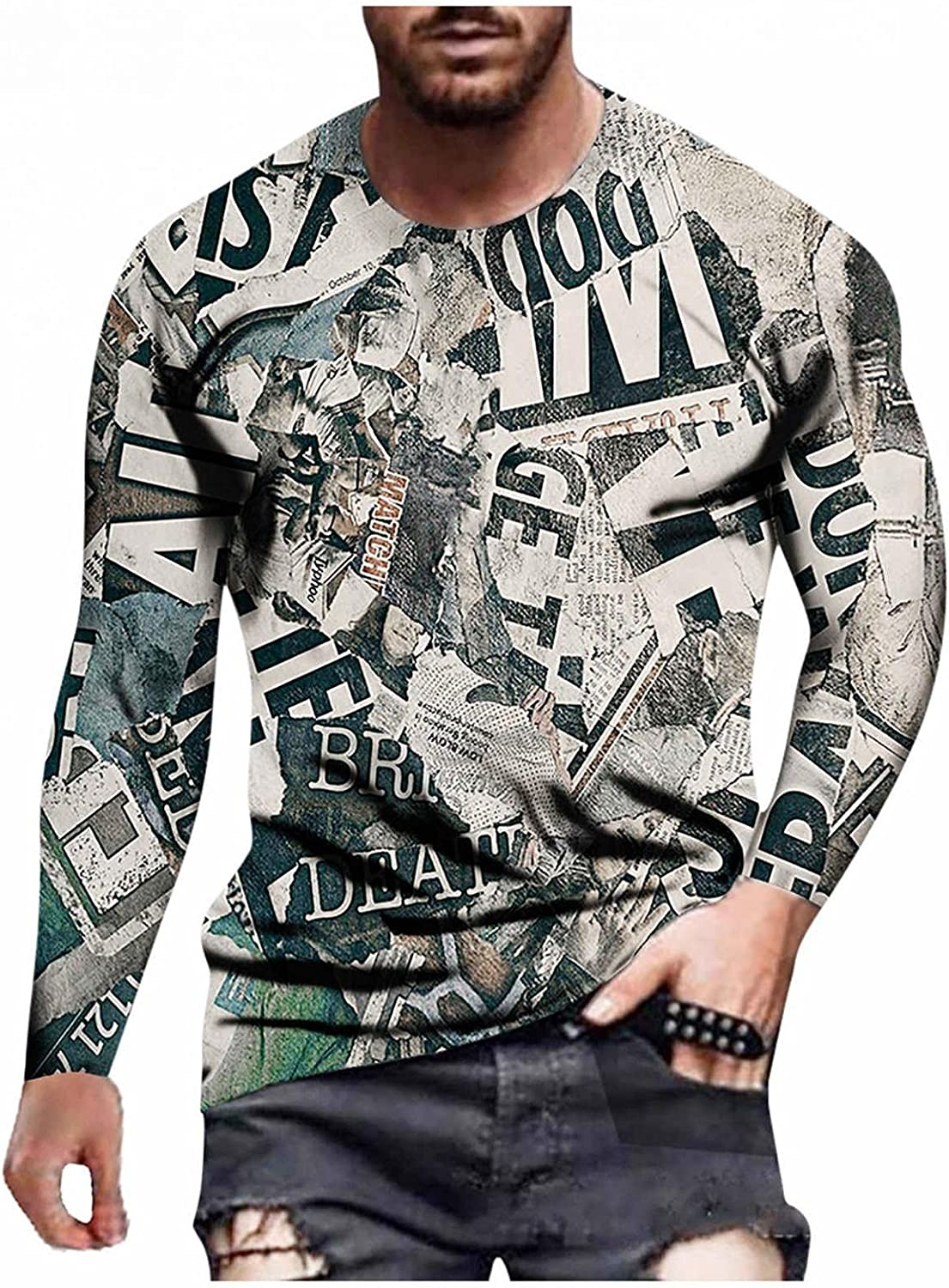 Aayomet T-Shirts for Men Fashion Printed Crewneck Long Sleeve Sweatshirts Casual Workout Sport Blouses Tops Tee Shirts