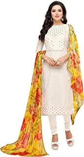 Rajnandini Women's Off White chanderi silk Embroidered Semi-Stitched Salwar Suit Material With Printed Dupatta (Free Size)