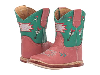 Roper Kids Cowbaby Arrows (Infant/Toddler) (Pink Vamp/Green Shaft/Arrow Embroidery) Girls Shoes