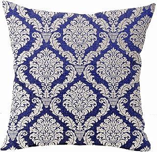 European Navy Blue Retro Floral Bohemian Ethnic Style Blue And White Porcelain Moroccan Flowers Cotton Linen Throw Pillow ...