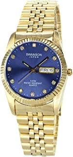 Swanson Men's Gold Day-Date Watch Purple Dial with Stone Numbers