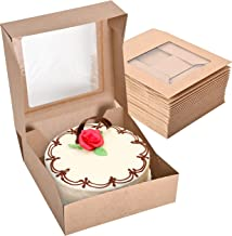 Stock Your Home 8 x 8 x 2.5 Inch Kraft Cake Box with Viewing Window (25 Count) - Small Cookie Box - Cake Box with Auto Pop...