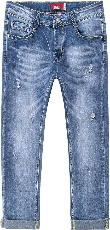Jungen Skinny Jeanshosen mit Verstellbarem Bund Stretch Denim Zerrissene Jeans Kinder
