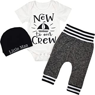 Fommy Newborn Baby Boy Clothes New to The Crew Letter Print Romper+Long Pants+Hat 3PCS Outfits Se - White - 3-6 Months