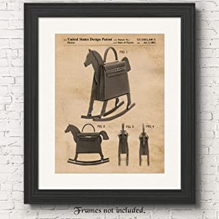 Original Hermes Leather Rocking Horse Bag Patent Poster Prints, Set of 1 (11x14) Unframed Photo, Wall Art Decor Gifts Under 15 for Home, Office, College Student, Designer, Street Fashion & Movies Fan