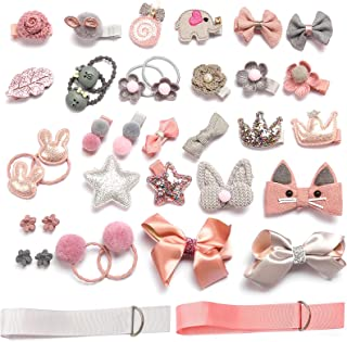 HOOMBOOM Baby Girl's Hair Clips, 36PCS Cute Hair Bows Baby Elastic Hair Ties Hair Accessories Ponytail Holder Hairpins Set...