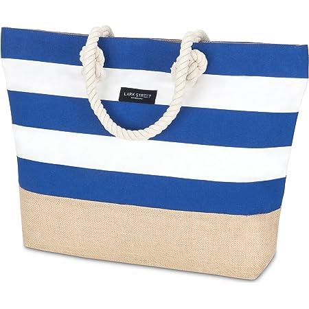 LARK STREET Strandtasche Blau Gestreift Beach Bag für Damen & Herren aus robustem Baumwoll Canvas & Jute - Badetasche mit Breiten Kordeln für angenehmen Große Tasche mit Reißverschluss