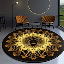 Round Rugs,Machine Washable Hand-Woven Tassels Carpet Braided Circle Rug Chic Floor Mats for Living Room Bedroom Sofa Coff...