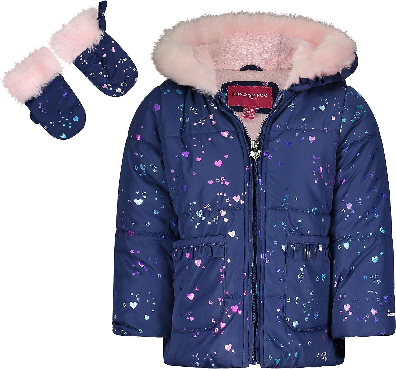 LONDON FOG Baby Girls' Faux Fur Bottom and Hood Matte Shimmer Satin Jacket