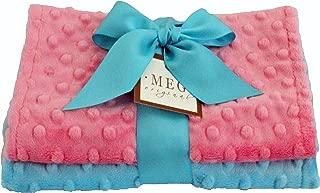 MEG Original Minky Dot Baby Girl Burp Cloths, Set of 2, Paris Pink & Turquoise