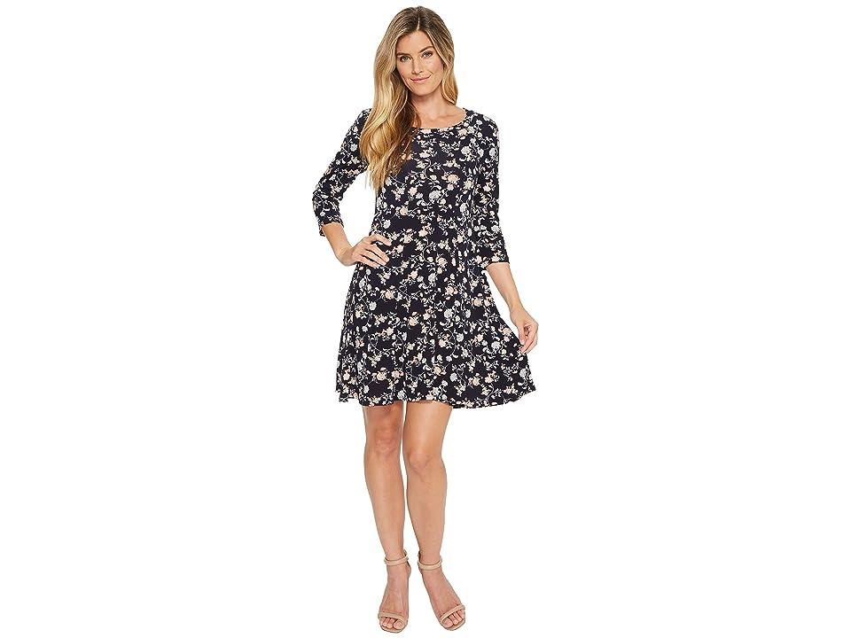 Karen Kane 3/4 Sleeve Swing Dress (Print) Women